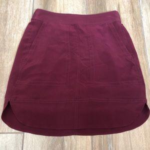 {Madewell} Silk Burgundy Skirt With Pockets